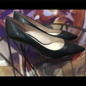 "Stuart Weitzman Black Leather 3"" Heels, Brand New"